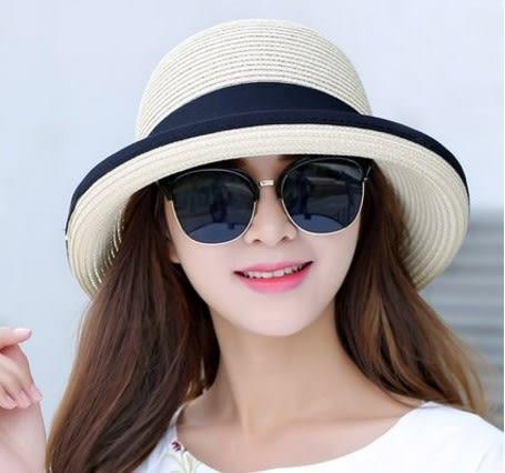 [協貿國際]  女士夏天蝴蝶結太陽防曬可折疊遮陽帽 (1入)