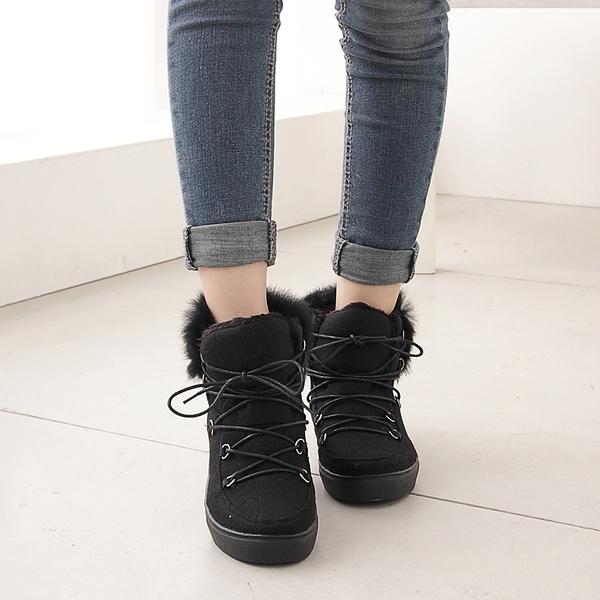時尚綁帶內刷毛休閒短靴 香榭