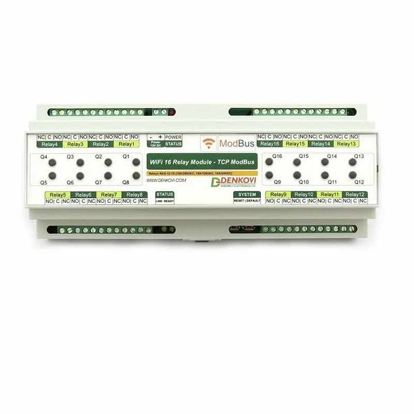 Denkovi Wi-Fi 16 Relay (10A) Board DIN Rail Box 12VDC- ModBus TCP, Timers, Wi-Fi 802.11 Interface [2美國直購]