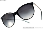 Tiffany&CO.太陽眼鏡 TF4087B 80553C (黑銀-蒂芬妮綠) 奢華別緻優雅經典貓眼款 # 金橘眼鏡