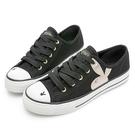 PLAYBOY 簡約率性 兔頭條紋帆布鞋-黑(Y7211)