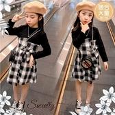 (大童款-女)優雅黑拼接格紋綁帶長袖洋裝(300195)【水娃娃時尚童裝】
