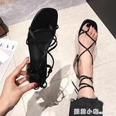 粗跟涼鞋女夏季新款交叉綁帶高跟夾趾涼鞋百搭韓版中跟女鞋 蘇菲小店
