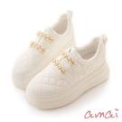 amai鍊條小香風空氣厚底鞋 小香白