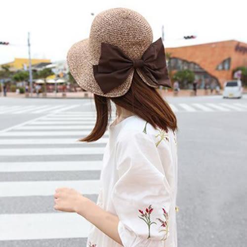 草帽 蝴蝶結 圓弧 設計 度假 遮陽 沙灘 草帽【CF050】 BOBI  08/03
