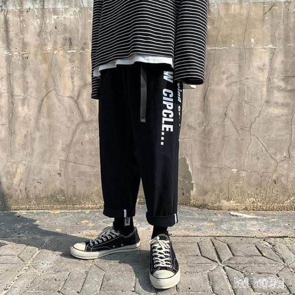 九分工裝褲男夏季薄款直筒寬鬆休閒墜感闊腿褲子男生韓版潮流wl3724badboy時尚