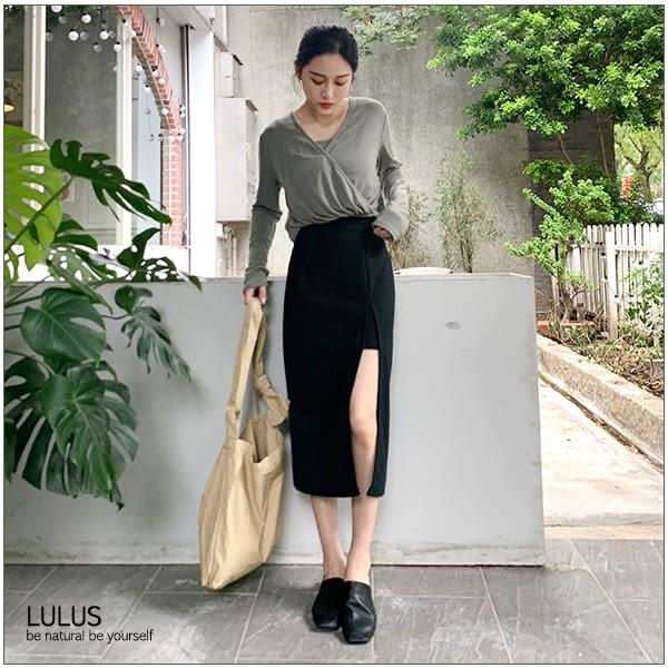 LULUS特價-Y開高叉鬆緊長裙-4色  【05190058】
