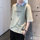 男士短袖POLO衫男裝T恤夏季新款韓版潮流日系潮牌V領港風半袖衣服 BP1378【雅居屋】