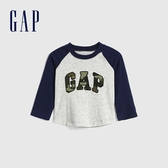 Gap嬰兒 Logo迷彩印花圓領長袖T恤 615711-灰色
