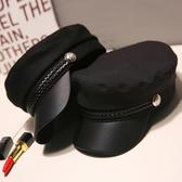 帽子 黑色貝雷帽秋冬英倫複古百搭毛呢海軍帽網紅八角帽子女韓版潮日系