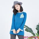 【RED HOUSE 蕾赫斯】花朵喇叭袖針織衫(共兩色)