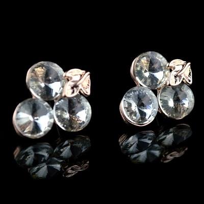 耳環 玫瑰金純銀 鑲鑽-氣質出眾生日情人節禮物女飾品73hz116【時尚巴黎】