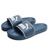 PUMA 拖鞋 LEADCAT FTR 深藍 白紅框線 運動拖鞋 男女 (布魯克林) 37227605