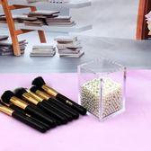 精品家居化妝刷收納筒亞克力美妝刷子桶透明盒化妝刷收納盒帶珍珠
