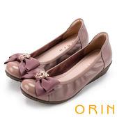 ORIN 甜美輕柔 花朵飾釦牛皮厚底娃娃鞋-粉紅