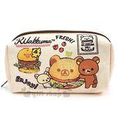 〔小禮堂〕懶懶熊 拉拉熊 帆布方形拉鍊筆袋《米棕.漢堡》收納包.化妝包.鉛筆盒 4930972-47809