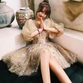禮服 很仙的法國小眾名媛仙女裙V領亮片網紗中長款宴會禮服連身裙女夏 雙12
