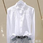 春季新款韓版木耳立領繡花收身棉布襯衣長袖打底衫顯瘦上衣女 可然精品