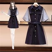 洋裝拼接裙子中大尺碼L-4XL新款氣質減齡顯瘦條紋短袖連身裙4F072-6853.一號公館