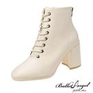 短靴 經典復刻顯瘦感方頭中跟短靴(米)*BalletAngel【18-5265mi】【現+預】