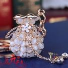 鑰匙扣 貓眼石錢袋流蘇水鑽韓版韓國女士創意水晶汽車鑰匙扣 鑰匙鍊 掛件 3色