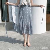 夏季荷葉邊一片式半身裙雪紡長裙碎花系帶魚尾小雛菊裹裙沙灘裙 茱莉亞