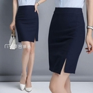窄裙春夏季新款職業裙女前開叉半身一步裙包臀裙黑色西裝裙正裝裙 快速出貨