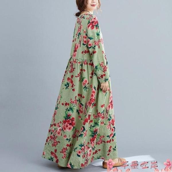 碎花洋裝民族風大碼女裝連身裙春秋款寬鬆復古印花遮肚過膝碎花休閒中長裙  芊墨左岸 上新
