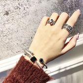 新款潮流時尚韓國女士手鐲黑瑪瑙銀手鍊銀泰開口手環一對     韓小姐の衣櫥