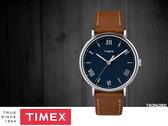 【時間道】TIMEX天美時 經典簡約羅馬刻度腕錶– 藍面淺棕皮帶(TW2R63900)免運費