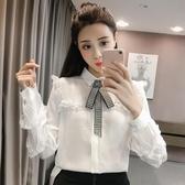 2020春季韓版POLO領長袖蕾絲花邊拼接襯衫女純色單排扣襯衣上衣潮