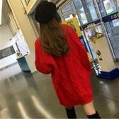 圓領粗毛線中長款麻花大紅色打底毛衣女針織寬松連身裙【聚可愛】