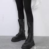 長筒靴黑色機車靴女2020春秋單靴英倫風厚底百搭馬丁靴中高筒騎士長靴子 非凡小鋪