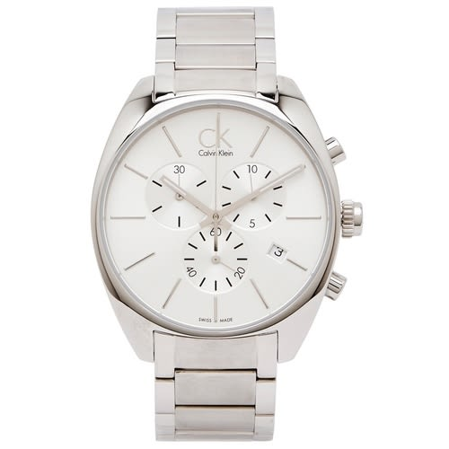 CK Calvin Klein 銀色時尚風三眼男性手錶(K2F27126)-銀面X銀色/44mm