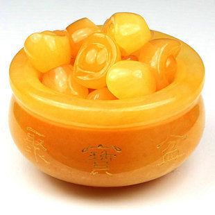 開光米黃玉元寶聚寶盆擺件