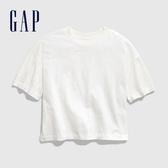 Gap女童棉質純色圓領短袖T恤577862-光感亮白