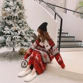 長款過膝套頭紅色高領毛衣裙女慵懶風秋冬季外穿聖誕加厚外套 雅楓居