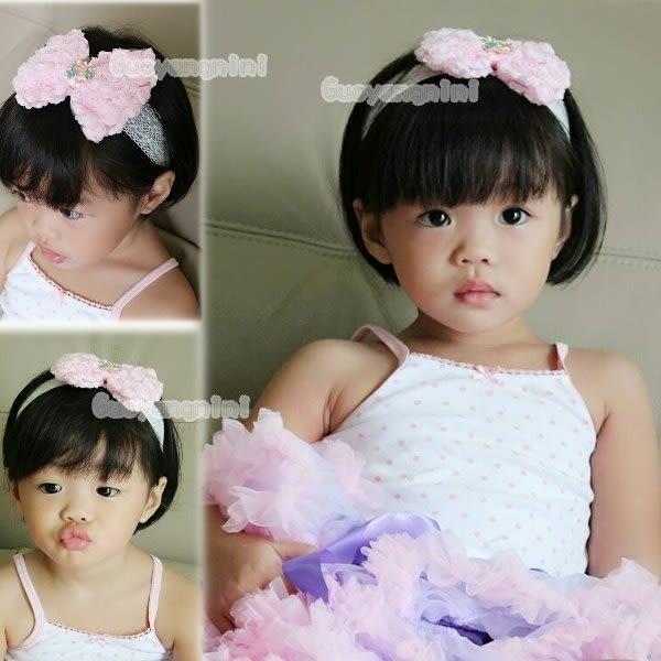 手工髮帶 玫瑰大蝴蝶結蕾絲款兒童 寶寶 嬰兒 彈性髮帶 拍照 彌月 寫真 頭帶  果漾妮妮【P3952】