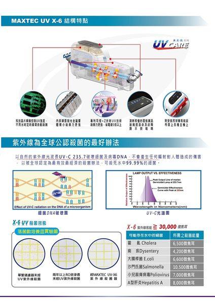 MAXTEC美是德 X-6 智能紫外線水殺菌器★5年免更換耗材★可搭配各式淨水器★節能、無光衰、無耗材