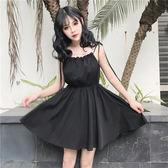 洋裝 中長款高腰顯瘦吊帶裙一字領露肩無袖連身裙小黑裙
