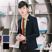 男 西裝外套 L AME CHIC 韓國製 劍領單扣窄版微亮彈性磨毛西裝外套【DTBL071503】
