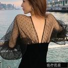 現貨設計感超仙長袖洋裝女網紗拼接高冷系小黑裙中長款年會禮服裙子【全館免運】
