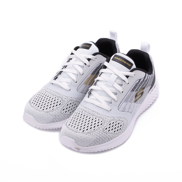 SKECHERS BOUNDER VERKONA 輕量條紋慢跑鞋 白黑 232004WWBK 男鞋