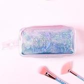 新年禮物簡約韓版流沙筆袋女網紅文具盒袋少女心入油透明鉛筆袋