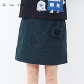 a la sha 直筒膝上假兩件褲裙
