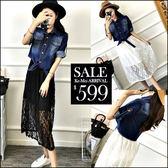 克妹Ke-Mei【ZT46904】歐美時髦感 立領釘釦牛仔外套+蕾絲洋裝套裝