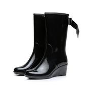 現貨 雨鞋女中筒拉鏈坡跟雨靴高跟成人水鞋防滑保暖【聚寶屋】