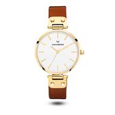 【台南 時代鐘錶 MOCKBERG】瑞典工藝 MO108 北歐極簡風格 ILSE時尚腕錶 皮帶 金 34mm