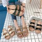 雙扣設計平底休閒拖鞋【KA811-6】黑...