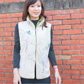 【碧多妮】純蠶絲典雅印花保暖背心-綠色系
